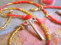 Unique Wrap Bracelet. Red and Golden Seed Beads by LunaBanana, $18.00