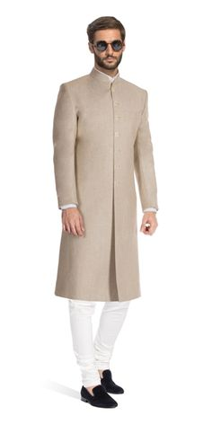 European tailoring and Indian heritage come together in this simple yet stylish Khaki coloured achkan. Sherwani For Men Wedding, Wedding Dresses Men Indian, Mens Sherwani, Sherwani Groom, Wedding Dress Men, Punjabi Wedding, Indian Weddings, Wedding Outfits, Wedding Couples