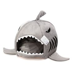 KOJIMA Shark Round House Puppy Bed with Pet Bed Mat, Small to Medium (Gray, Medium) - http://www.thepuppy.org/kojima-shark-round-house-puppy-bed-with-pet-bed-mat-small-to-medium-gray-medium/