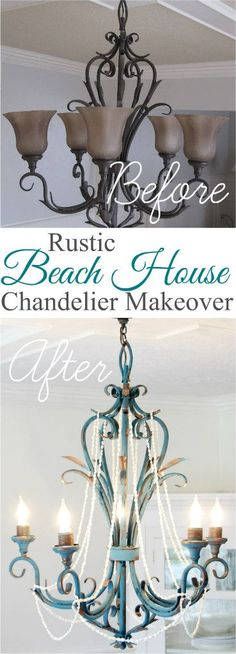 A Rustic Beach House Chandelier Makeover The Wicker House Table Makeover Beach chandelier house Makeover Rustic Wicker Chandelier Makeover, Lamp Makeover, Diy Chandelier, Furniture Makeover, Diy Furniture, Light Fixture Makeover, Bedroom Furniture, Painting Chandeliers, Painted Furniture