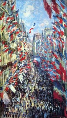 """Claude Monet The Rue Montorgueil, Paris Flags. The Rue Montorgueil was painted by Claude Monet on 30 June 1878 for a festival declared that year by the government celebrating """"peace and victory"""". Claude Monet, Post Impressionism, Impressionist Paintings, Monet Paintings, Landscape Paintings, Montorgueil Paris, Artist Monet, Pierre Auguste Renoir, Manet"""
