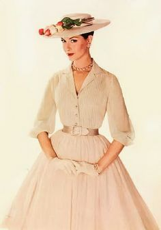 1960 pink frock with hat & gloves