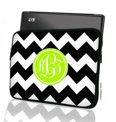 Bubblegum Basics - Chevron Monogram #MacBook Laptop #Sleeve, $39.00 (http://www.bubblegumbasics.com/chevron-monogram-laptop-sleeve.html)