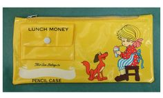 """80s Pencil Cases that held your lunch money...I had a """"Strawberry Shortcake"""" one."""