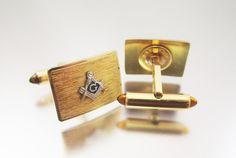 Masonic Cufflinks Gold Filled Mason Cuff Links by LadyandLibrarian #ladyandlibrarian