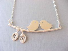 Love Birds Necklace with Two Initial Pendant Necklace | 22 Personalized Gifts You Should Order Soon