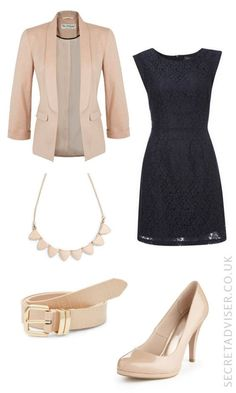 Navy dress with stone accessories outfit idea