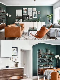 Color wall is nice Too busy art color of furniture works well with walls (brown - - Living Room Table Living Room Small, Living Room Orange, Accent Walls In Living Room, Living Room Color Schemes, Home Living Room, Interior Design Living Room, Living Room Designs, Living Room Decor, Decor Room