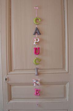 Guirlande décorative prénom personnalisable prix pour 8 lettres  Coton Gris