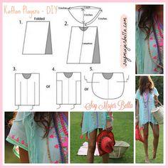Kaftan Pattern, Kaftan Style, Dress Patterns, Sewing Patterns, Beachwear Fashion, Diy Sewing Projects, Diy Dress, Trendy Tops, Diy Clothes