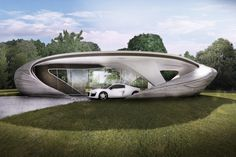 Chicago-based WATG Urban Architecture wins Branch Technology's Freeform Home Design Challenge witWh a curvaceous proposal aptly named Curve Appeal. Form Architecture, Residential Architecture, Organic Architecture, 3d Printed House, Futuristic Home, Futuristic Furniture, 3d Printing Industry, Adobe House, The Jetsons