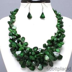 """CHUNKY DARK GREEN CORAL THEME SILVER TONE NECKLACE SET    * If you need a necklace extender I have them for sale in my store.*        NECKLACE: 17"""" + 2"""" EXT    CHARM: 2"""" LONG    LOBSTER CLAW CLOSURE       HOOK EARRINGS: 1 3/4"""" LONG           COLOR: SILVER TONE  $32.99"""