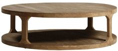 Serrita Round Coffee Table Fashioned from Reclaimed Wood with Lower Shelf  Also Available in Smaller Size 48