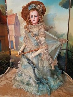 ~~~ Rare Large French Portrait Poupee by Jumeau in Gorgeous Gown ~~~ from whendreamscometrue on Ruby Lane
