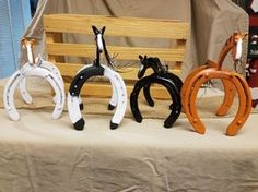 Have your favorite horse or pony immortalized out of horseshoes. All horses are made to order Message me with the colors you would like, you can also send me a picture of your horse and I will paint your statue to look like them! All designs are made fr