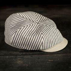 hemp/organic cotton newsboy in indigo stripe