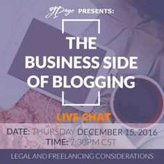 """The Business of Journalism"": Johnetta G. Paye, Esq. and journalist Shamontiel L. Vaughn will answer these questions and more in our open chat at 7:30 p.m. CST, on Thursday, December 15, just in time to plan for your creative New Year's resolutions for 2017. ---> Are you considering starting a blog? Wondering how to monetize it? How do you make sure your reporting/blogging is credible? How can your blog get sponsorship or ad dollars? How should you properly market the blog on social media? Estate Law, Dating Chat, Consideration, How To Start A Blog, Business Tips, Social Media, This Or That Questions, Writing, How To Plan"
