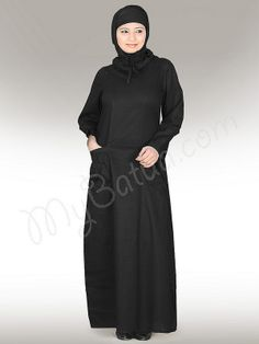Falish Abaya (Black) ! Style No: Ay-113BK Shopping Link : http://www.mybatua.com/falish-abaya-black Available Sizes XS to 7XL (size chart: http://www.mybatua.com/size-chart/#ABAYA/JILBAB) • Gathering at neck with channel draw strings • Pouch Pockets • Sleeves with gathered cuffs • Fabric: Cotton (Poplin) Care: • Care: Dry Clean