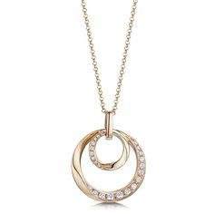 Summer Sunshine!   Laings 18ct Rose Gold Double Circle 0.26ct Diamond Pendant