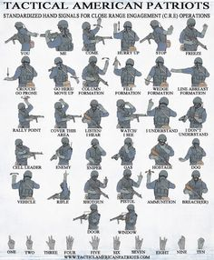 Standardized hand signals for CRE. Survival Life Hacks, Camping Survival, Survival Tips, Survival Skills, Phonetisches Alphabet, Phonetic Alphabet, Military Tactics, Military Art, Airborne Army