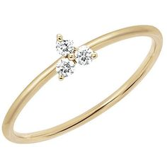 Ef Collection Diamond Trio Stack Ring ($425) ❤ liked on Polyvore featuring jewelry, rings, all colors, 14 karat gold jewelry, 14 karat gold ring, 14k stackable rings, triple ring and 14k jewelry
