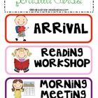 Cute schedule cards for your classroom! Includes all subjects and specials.  Cut and laminate and use for pocket charts or even stick a magnet or v...