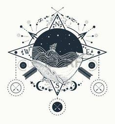 Avistamiento de ballenas bajo el agua arte del tatuaje en el estilo gr fico del mar las olas de torm Foto de archivo