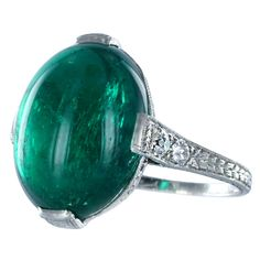 Fine Cabochon Colombian Emerald Ring Estate Collection | 1stdibs.com
