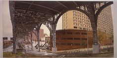 """The Cotton Club From Under the Viaduct at Riverside Drive and St. Clair Place,"" Rackstraw Downes, 2003, oil on canvas, 34 x 66 1/4"", The Metropolitan Museum of Art."