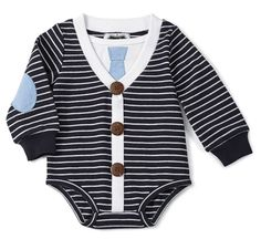 Mud Pie Navy Stripe Cardigan Crawler is perfect for this spring!