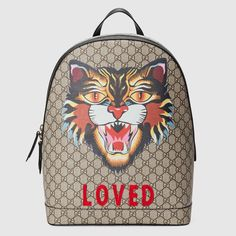 GUCCI Auth 419584 9AX1T 8652 Backpack Angry Cat Beige GG Supreme Mens New #0483 #GUCCI #Backpack