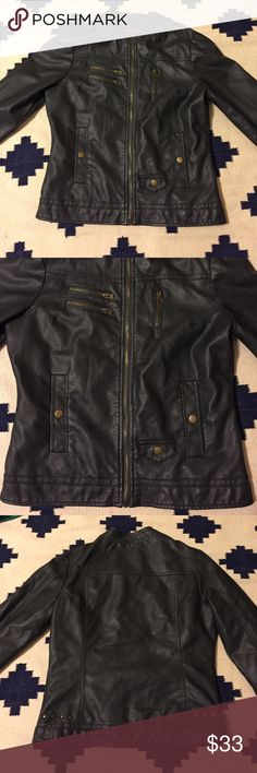 Faux Leather Jacket Fun and stylish Faux leather jacket. NWOT. Pictures show all the details! Size Medium. Ashy black color. Jackets & Coats