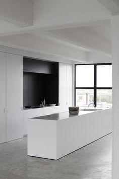 WHITE minimalist kitchen with CONCRETE floor