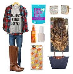 """""""Another Fall day"""" by lilypope ❤ liked on Polyvore featuring beauty, Frame Denim, Tory Burch, Kate Spade, Casetify, Essie and Longchamp"""