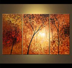 """Landscape Blooming Trees Forest Painting 50"""" x 30"""" Original Abstract Modern Acrylic by Osnat - MADE-TO-ORDER"""