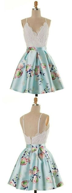 A-Line Spaghetti Straps Short Print Light Blue Homecoming Dress with Lace,MB 442