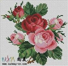 This Pin was discovered by Neş Cross Stitch Rose, Cross Stitch Flowers, Cross Stitch Charts, Cross Stitch Designs, Cross Stitch Patterns, Cross Stitching, Cross Stitch Embroidery, Hand Embroidery, Beading Patterns