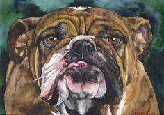 English Bulldog Portrait  Original Painting by GeorgeWatercolorArt