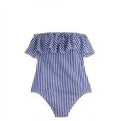 J.Crew - Ruffle bandeau one-piece swimsuit in Italian seersucker