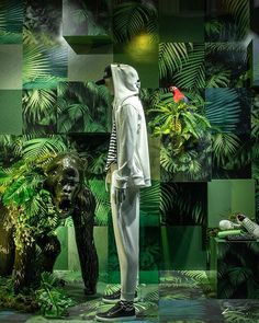 "LEFFERS MODE, Oldenburg, Germany, ""The World is a Jungle – You either fight or r… - agnefod. Amazing Gardens, Beautiful Gardens, Fashion Retail Interior, Green Windows, Fashion Displays, Optical Shop, Exhibition Stall, Display Panel, Display Window"