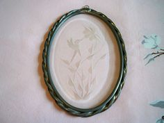 Vintage Hummingbird Etched Bevelled Glass Sun Catcher by BlackRain4