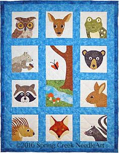 Adorable baby quilt pattern. Whimsical Woodland Faces Quilt Pattern SCN-2067 by Spring Creek NeedleArt - Nancy Richoux.  Check out our animal & nature quilt patterns. https://www.pinterest.com/quiltwomancom/animal-nature-quilts/  Subscribe to our mailing list for updates on new patterns and sales! https://visitor.constantcontact.com/manage/optin?v=001nInsvTYVCuDEFMt6NnF5AZm5OdNtzij2ua4k-qgFIzX6B22GyGeBWSrTG2Of_W0RDlB-QaVpNqTrhbz9y39jbLrD2dlEPkoHf_P3E6E5nBNVQNAEUs-xVA%3D%3D