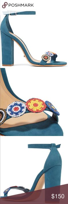Shutz Blue Suede Embellished Sandal All Leather New in Box Size 7.5 shutz Shoes Sandals