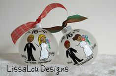 I must get one this year since I got married!  Awesome!   Personalized Our First Christmas Wedding by LissaLouDesigns, $18.00