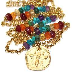 Bee Charm Necklace Chakra Necklace Multicolor Necklace Rainbow #bee #accessories #fashion #fashionillustration #fashionbloggers #fashiongoals #fashionrevolution #handmade #handmadejewelry #handmadeatamazon  #style #women #womensfashion #womenwhowork #giftsforher #gifts