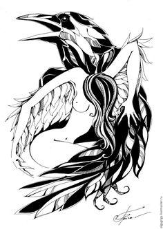 """Купить Графика Ангел и ворон """"Покровитель"""" - чёрно-белый, ангел, ворон, ворона, графика, крылья"""