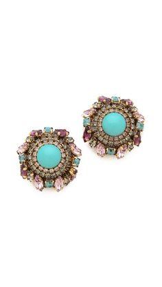 Erickson Beamon Girls on Film Button Earrings