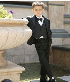 Две Кнопки Детей Блейзер Зубчатый Нагрудные Мальчика Костюм Дети Свадьба/Пром Костюмы из трех частей Мальчик Смокинги (куртка + жилет + брюки + галстук)