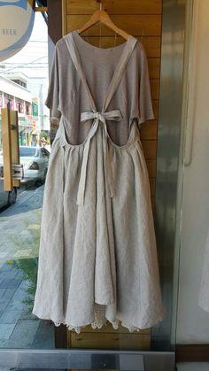 신상 : 네이버 블로그 Mori Fashion, Fashion Dresses, Sewing Clothes, Diy Clothes, Pretty Outfits, Fall Outfits, Linen Apron, Apron Designs, Apron Dress