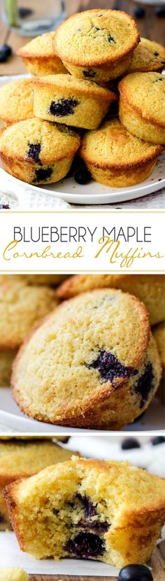 Blueberry Maple Cornbread Muffins - Buttery, moist cornbread muffins infused with sweet maple and bursts of blueberries.